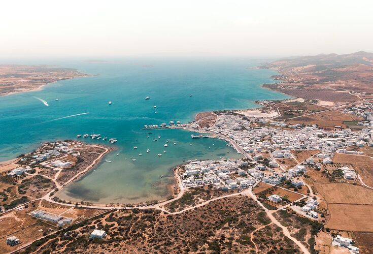Antiparos harbour from above