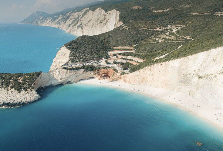 Porto Katsiki combines a dramatic cliff-side setting with a bird's eye view of the beach and sea
