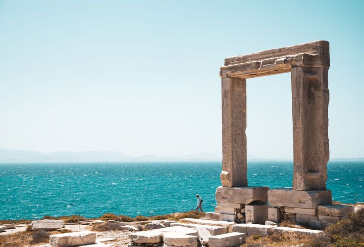 The 6th-century BC Portara is the standalone ancient marble gateway that has become an emblem of the island