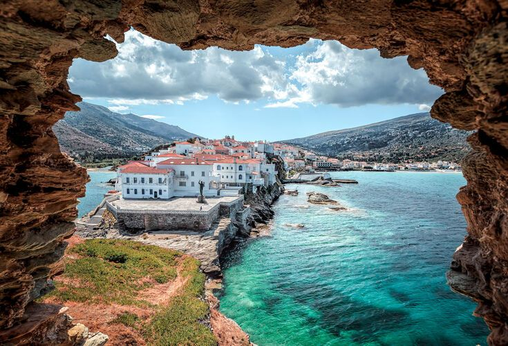 Beautiful town of Chora in Andros, Greece