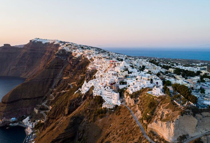 Caldera view from Fira as the sun sets