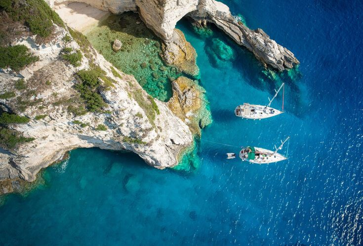 Sailboats in a beautiful bay, Paxos island