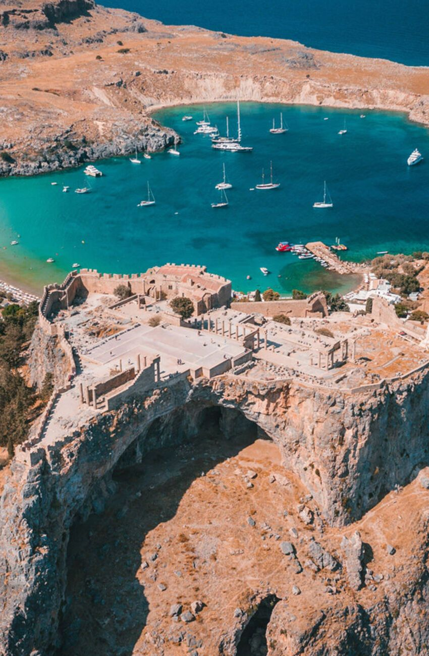 The Acropolis and the beach of Lindos