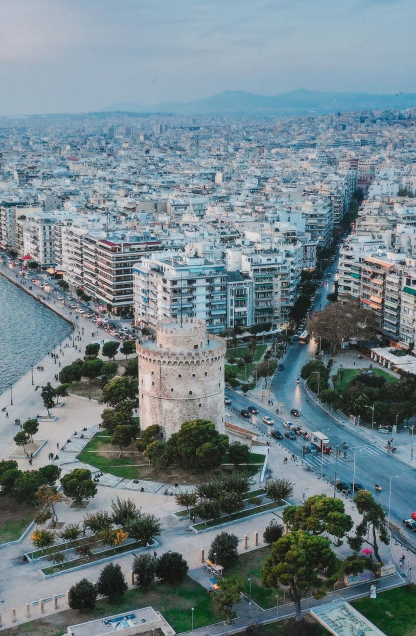 White Tower Thessaloniki aerial view