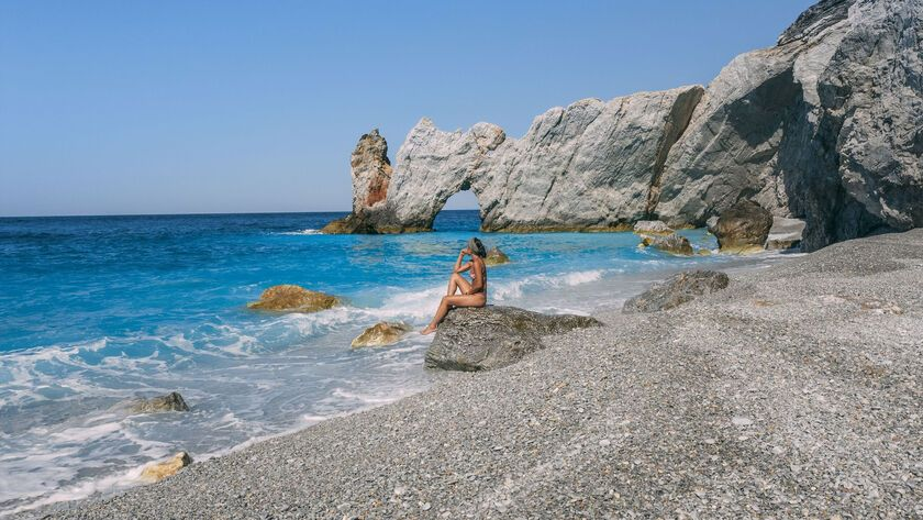 A boat trip to Skiathos remote and wild Lalaria beach